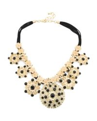 Tj Maxx - Metallic Medallion Crystal And Leather Necklace - Lyst