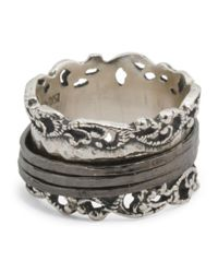 Tj Maxx - Metallic Made In Israel Sterling Silver Lace Spinner Ring - Lyst