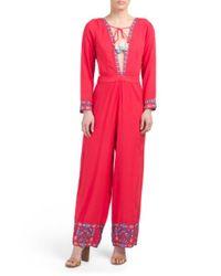 Tj Maxx - Red Plunging Neckline Jumpsuit - Lyst