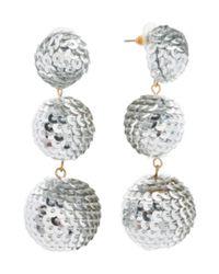 Tj Maxx - Metallic Handmade Sequin Covered 3 Tier Ball Earrings - Lyst
