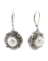 Tj Maxx - Metallic Sterling Silver Fresh Water Pearl Marcasite Earrings - Lyst
