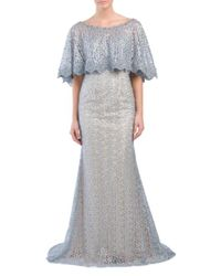 0d7de2461b5e Lyst - Tj Maxx Hand Beaded Embellished Capelet Gown in Gray