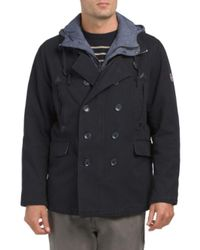Tj Maxx - Blue Cotton Canvas Pea Coat With Bib for Men - Lyst