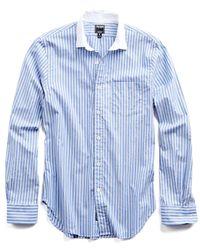 Todd Snyder - Blue Spread Collar Shirt In White Collar for Men - Lyst