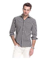 Todd Snyder - Spread Collar Black Check Shirt for Men - Lyst