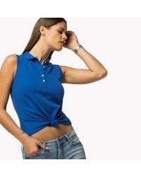 Tommy Hilfiger | Blue Sleeveless Stretch Piqué Polo | Lyst