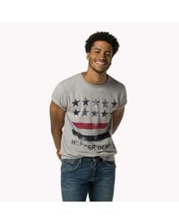 Tommy Hilfiger | Gray Cotton Printed T-shirt for Men | Lyst