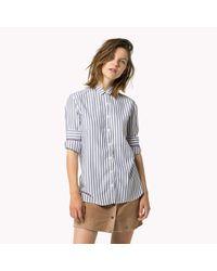 Tommy Hilfiger | Blue Viscose Blend Striped Shirt | Lyst