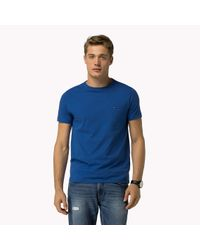 Tommy Hilfiger | Blue Cotton Stretch Slim Fit Crew Neck T-shirt for Men | Lyst