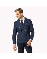 Tommy Hilfiger   Blue Cotton Blend Slim Fit Blazer for Men   Lyst