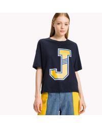 Tommy Hilfiger - Blue Cotton Jersey Oversized T-shirt - Lyst