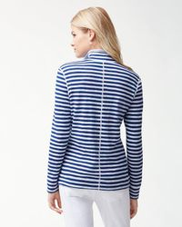 Tommy Bahama - Blue Harbour Stripe Reversible Half-zip Sweatshirt - Lyst