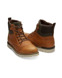 TOMS - Brown Waterproof Dark Toffee Leather Men's Ashland Boots for Men - Lyst