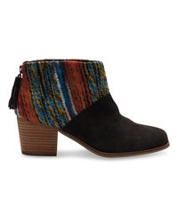 TOMS | Brown Chocolate Suede Multi Textile Leila Booties | Lyst
