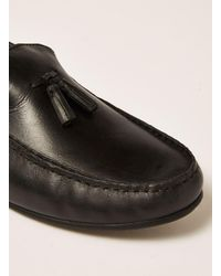 Topman - Black Leather Blast Tassel Loafer for Men - Lyst