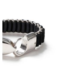 Topman - Black Oversized Woven Bracelet for Men - Lyst