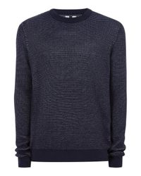 Topman - Blue Navy Birdseye Textured Sweater for Men - Lyst