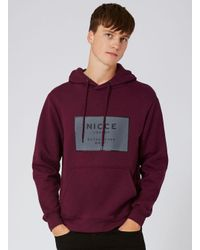 Nicce London - Red Burgundy Logo Hoodie for Men - Lyst