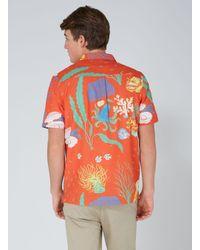 Topman - Red Orange Ocean Print Hawaiian Short Sleeve Shirt for Men - Lyst