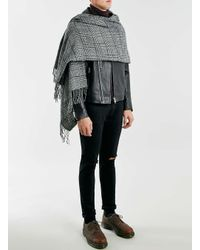 Topman - Black And White Check Scarf for Men - Lyst