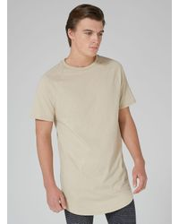 Topman - Natural Tone Longline T-shirt for Men - Lyst