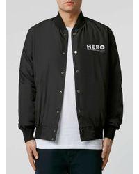 TOPMAN | Hero's Heroine Black Bomber Jacket* for Men | Lyst