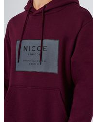 Nicce London - Red Burgundy Logo Hoodie for Men - Lyst