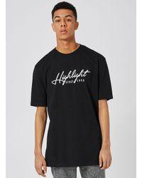 Topman - Embroidered Black Highlight T-shirt for Men - Lyst