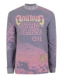 TOPMAN | Purple Motocross Print Turtle Neck Long Sleeve T-shirt for Men | Lyst