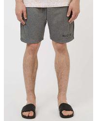 Nicce London - Gray Dark Grey Marl Zip Shorts for Men - Lyst