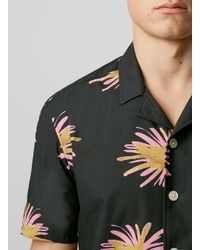 TOPMAN - Black Firework Print Short Sleeve Shirt for Men - Lyst