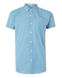 TOPMAN | Green Teal And Navy Gingham Short Sleeve Dress Shirt for Men | Lyst