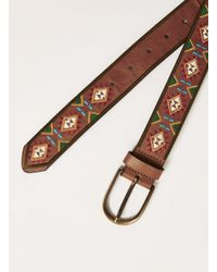 Topman - Brown Tan And White Embroidered Belt for Men - Lyst
