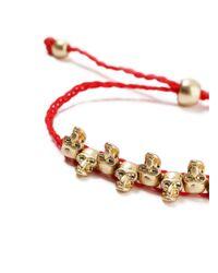Topman - Red Skull Bracelet for Men - Lyst