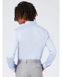 Topman - Light Blue Premium Satin Touch Smart Long Sleeve Shirt for Men - Lyst