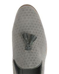 Topman - Gray Grey Faux Suede Tassel Loafer for Men - Lyst