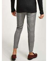 Topman - Gray Light Grey Check Skinny Crop Trouser for Men - Lyst