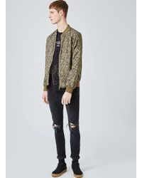 Topman - Green Khaki Abstract Camouflage Bomber Jacket for Men - Lyst