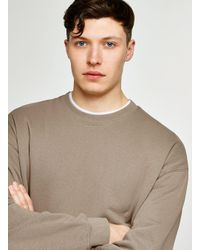 Topman - Washed Brown Dropped Shoulder Sweatshirt for Men - Lyst