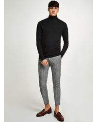 Topman - Gray Light Grey Check Skinny Crop Trouser for Men - Lyst