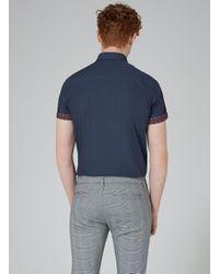 Topman - Blue Navy Tile Turn Up Short Sleeve Shirt for Men - Lyst