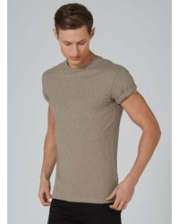 Topman - Purple Taupe Linen Look Muscle T-shirt for Men - Lyst