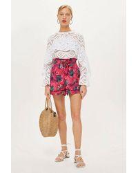 TOPSHOP - Multicolor Petite Printed Shorts - Lyst