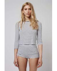 TOPSHOP - Black Striped Pyjama Set - Lyst