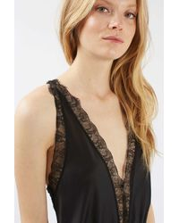 TOPSHOP - Black Lace Detail Teddy - Lyst
