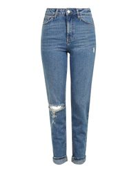 TOPSHOP   Moto Mid Blue Rip Mom Jeans   Lyst