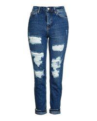 TOPSHOP | Blue Moto Super Rip Indigo Mom Jeans | Lyst