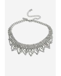 TOPSHOP - Metallic Princes Crystal Choker Necklace - Lyst
