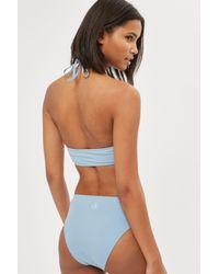 Calvin Klein - Blue High Neck Bikini Crop Top By - Lyst
