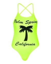 TOPSHOP - Yellow Palm Springs Swimsuit - Lyst